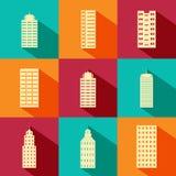 Gebäude- und Wolkenkratzerikone Stockfotografie