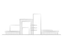 Gebäudearchitektur-kommerzielle moderne Wohnskizze Stockbild