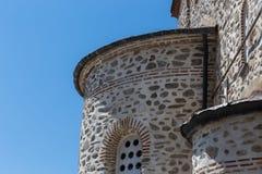 Gebäudedetails in Karyes auf heiligem Mount Athos stockfotos