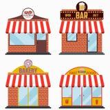 Gebäudefassade mit dem Schild eingestellt - Steakhouse und Grill-Fleisch-Restaurant, Bierkneipe, Bäckereishop, Schnellimbiß Vekto stock abbildung