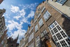 Gebäudefassaden auf Mariacka Gdansk Stockbild