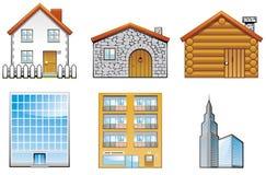 Gebäudeikonen Stockfoto