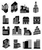 Gebäudeikonen eingestellt Stockfotografie