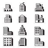 Gebäudeikonen Vektorillustrations-Symbolsatz Stockfoto