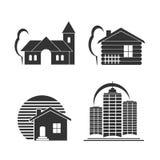 Gebäudeikonen-Vektorsatz Stockbilder
