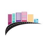 Gebäudelogo-Designillustration lokalisiert auf weißem Hintergrund Lizenzfreies Stockfoto