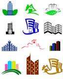 Gebäudelogos und -ikonen Stockfoto