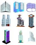 Gebäudelogos und -ikonen Stockfotografie