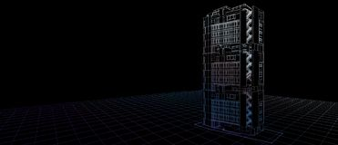 Gebäudeperspektivenfarbdrahtrahmen des Architekturaußenfassaden-Konzeptes des Entwurfes 3d, der schwarzen Hintergrund überträgt F lizenzfreie abbildung