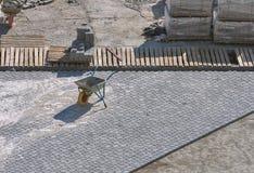 Gebäudepflasterungsstraße Ansicht von oben Stockfotos