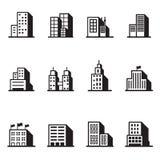 Gebäudeschattenbildikonen Stockfoto