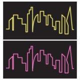 Gebäudeskylineentwurfs-Schattenbildneon Lizenzfreies Stockbild
