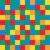 Gebäudespielzeugziegelsteine Nahtloses Muster Stockbilder