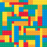 Gebäudespielzeugziegelsteine Nahtloses Muster Stockfotos