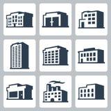 Gebäudevektorikonen, isometrische Art #2 Stockfotos