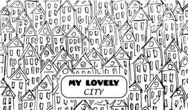 Gebäudevektorkunst für Karte, decotation Schwarzweiss--lineart, Skizzenart Unterschrift meine reizende Stadt Lizenzfreie Stockfotografie
