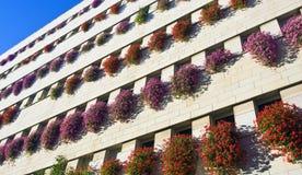 Gebäudewand mit Blumen Lizenzfreies Stockbild