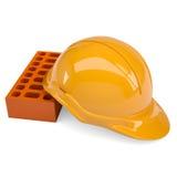 Gebäudeziegelsteine und -sturzhelm Lizenzfreies Stockfoto