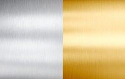 Gebürstete Beschaffenheiten des Stahls und des Goldes Metall lizenzfreies stockfoto