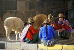 Gebürtige Frauen von Peru mit Lamas Lizenzfreie Stockfotografie