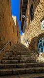 Gebürtige hamazalot Straße in altem Jaffa israel stockfotos