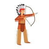 Gebürtiger Indianer im traditionellen Kostüm- und Kopfbedeckungsbogenschießen mit einer Bogen Illustration lizenzfreie abbildung