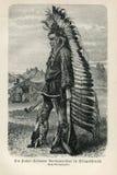GEBÜRTIGER INDIANISCHER MANN 1890, DER DIE PATANI-KRIEGS-KLEIDUNGS-FEDER-KOPFSCHMUCKE HAUPTSÄCHLICH TRÄGT Stockbild