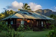 Gebürtiges Haus Hawaiin mit Bergen im Hintergrund Stockfotos