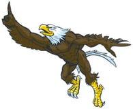 Gebaar van beeldverhaal het Kale Eagle Mascot Doing Number One Stock Fotografie