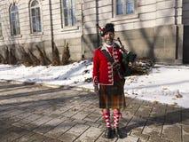 gebaarde bagpiper van 78ste Fraser Highlanders royalty-vrije stock foto