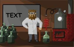 Gebaarde chemicus op de laboratoriumachtergrond Stock Afbeelding