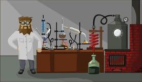 Gebaarde chemicus op de laboratoriumachtergrond Stock Afbeeldingen