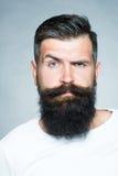 Gebaarde grijs-haired mens met snor royalty-vrije stock afbeeldingen