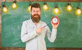 Gebaarde hipster houdt klok, bord op achtergrond De leraar in oogglazen houdt wekker en pen discipline royalty-vrije stock fotografie