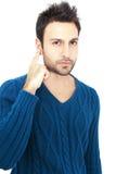 Gebaarde jonge mens met donkere ogen Royalty-vrije Stock Fotografie