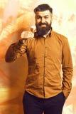 Gebaarde mens, lange baard Brutale Kaukasische het glimlachen gelukkige hipster die met snor in bruin overhemd alcoholisch rood s royalty-vrije stock afbeeldingen