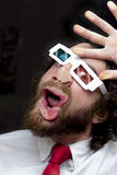 Gebaarde Mensen 3D Glazen Royalty-vrije Stock Foto's