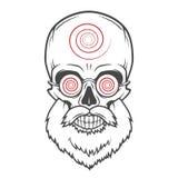 Gebaarde schedel met hypnotic glazen gek vector illustratie