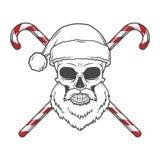 Gebaarde Schedel Santa Claus met de affiche van het suikergoedriet Stock Afbeelding