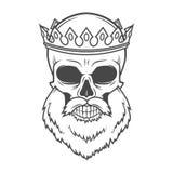 Gebaarde Schedelkoning met Kroon vectorontwerp Stock Foto's