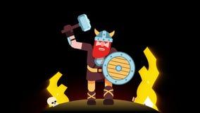 Gebaarde Viking met een hamer op het slagveld stock illustratie