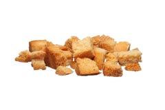 Gebackene Croutons auf einem Weiß Stockfotos