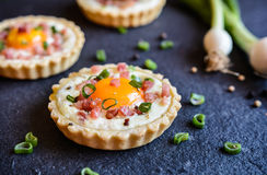 Gebackene Ei und Speck Tartlets stockfoto