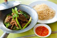 Gebackene Gans mit chinesischer Nudel und Soße Lizenzfreie Stockfotos