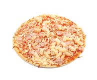 Gebackene gefrorene Pizza lokalisiert Stockbild