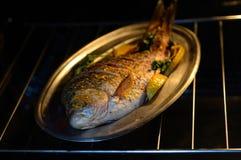Gebackene Karpfenfische auf einer Metallplatte auf einem schwarzen Hintergrund Lizenzfreie Stockfotografie