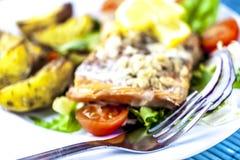 Gebackene Lachse auf Salat mit Kartoffeln lizenzfreies stockbild