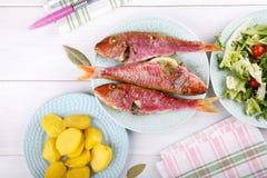 Gebackene Meerbarbe gedient mit gekochten Kartoffeln und grünem Salat stockfoto