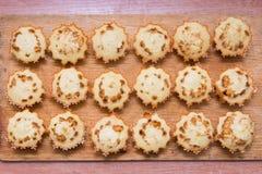 Gebackene Muffins der Draufsicht achtzehn frisch angefüllt mit gekochter Kondensmilch Lizenzfreie Stockfotos