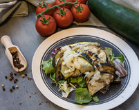 Gebackene Zucchini und Aubergine auf dem Eissalat besprüht mit Käse Stockbild
